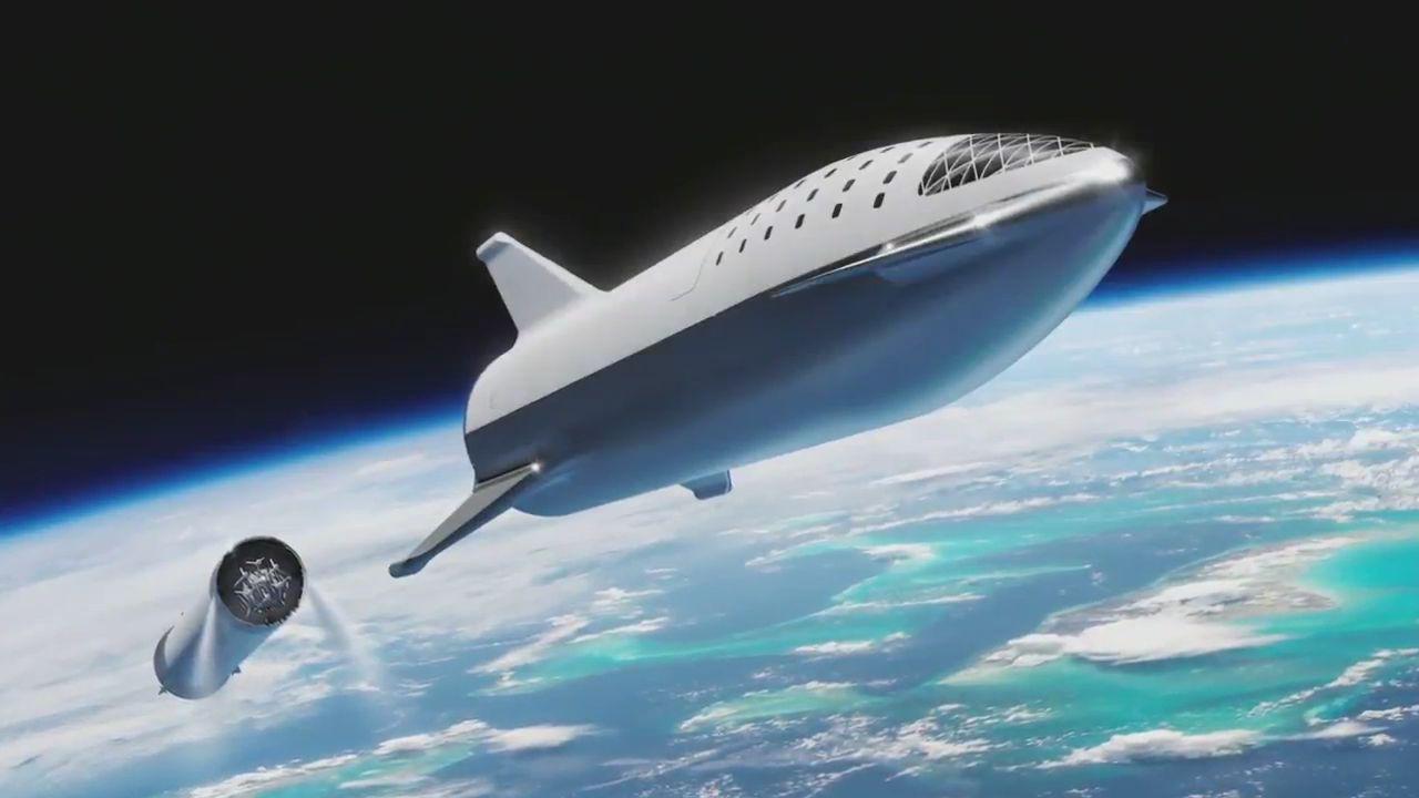 BFR tuż po separacji stopni według koncepcji z września 2018 roku (Źródło: SpaceX)