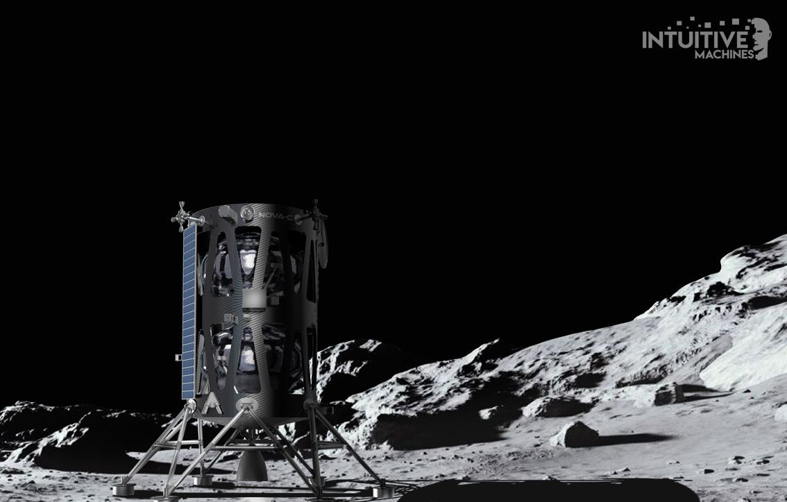 Lądownik Nova-C na powierzchni Księżyca, wizja artysty (Źródło: Intuitive Machines)