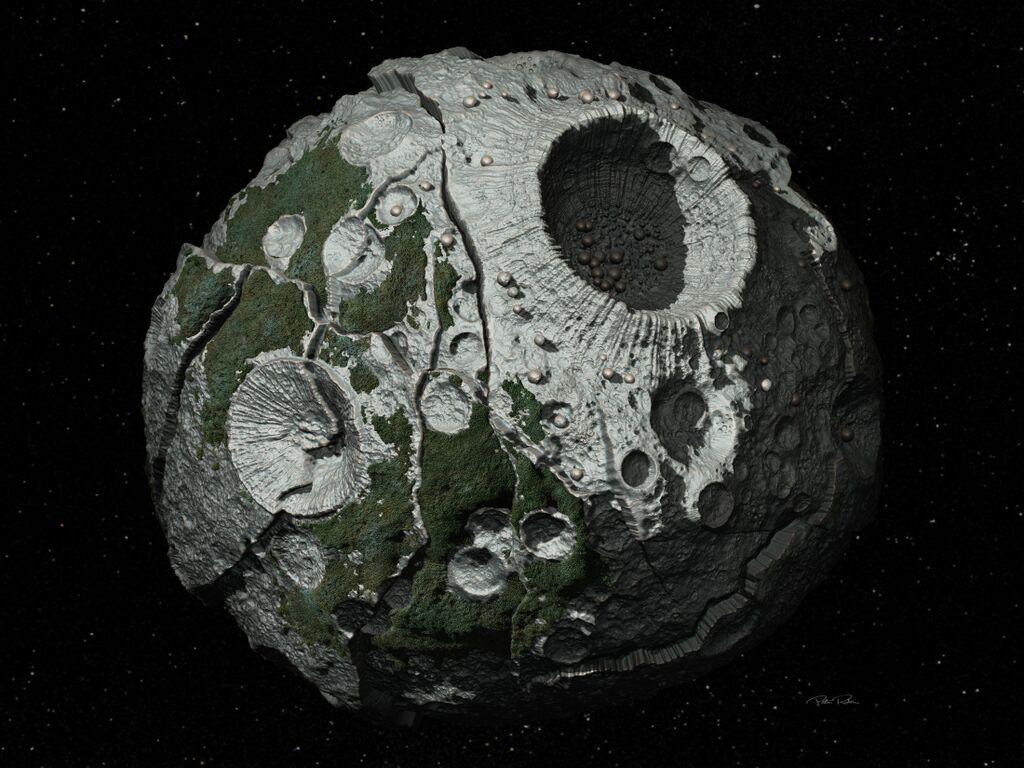 Wizja artysty przedstawiająca planetoidę Psyche (Źródło: Peter Rubin, Arizona State University)