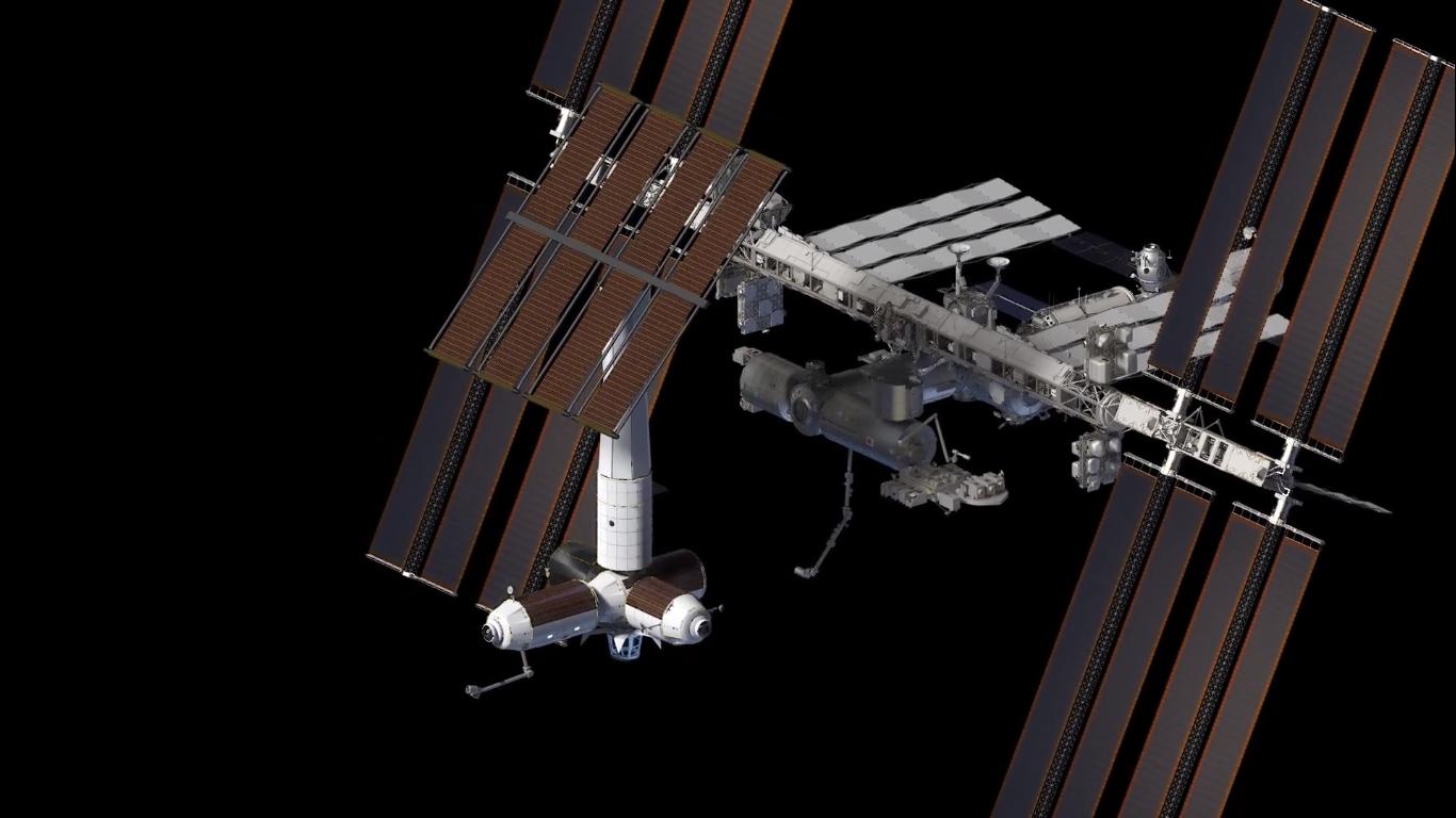 Wizja artystyczna przedstawiająca komercyjne moduły po oddzieleniu sięod Międzynarodowej Stacji Kosmicznej (Źródło: Axiom Space)
