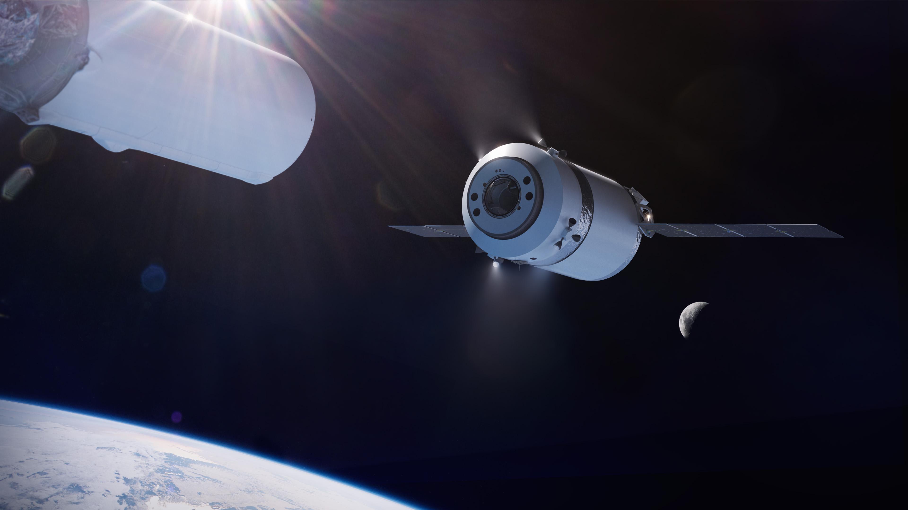 Wizja artystyczna przedstawiająca statek Dragon XL po odłączeniu od drugiego stopnia rakiety Falcon Heavy (Źródło: SpaceX/NASA)