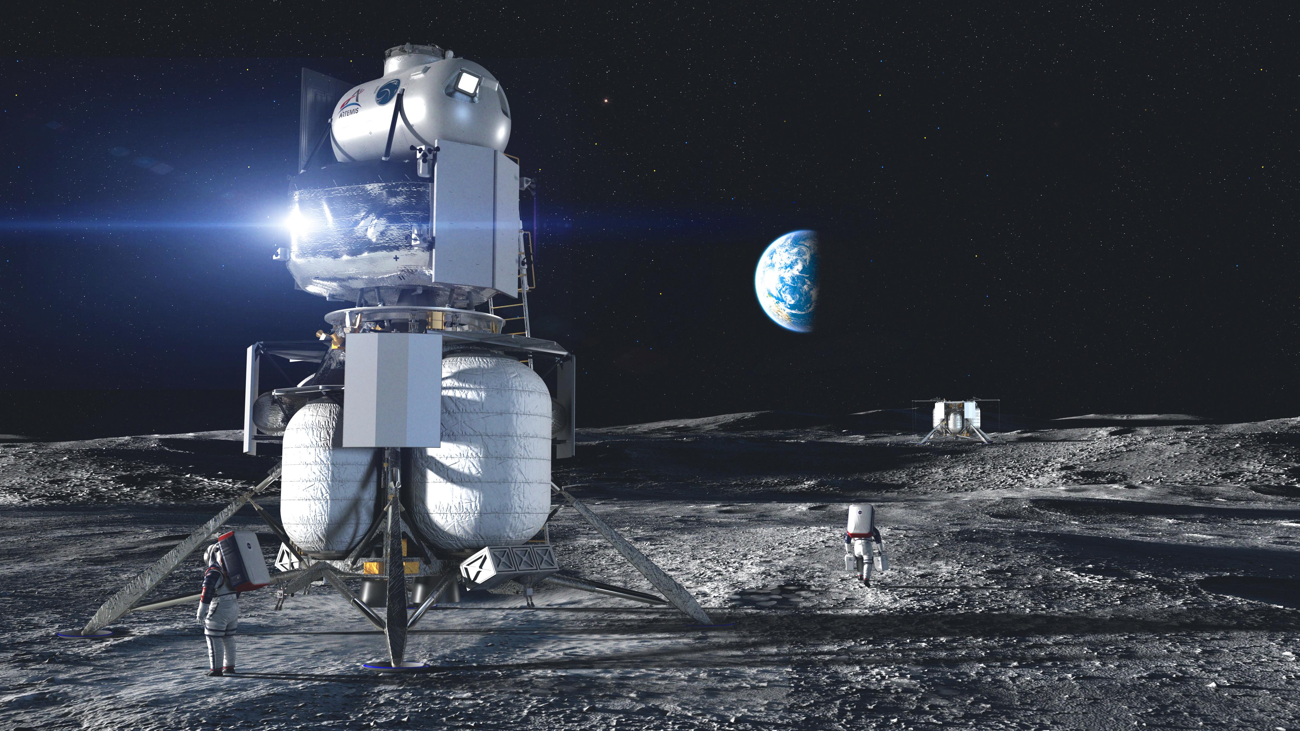 Wizja artystyczna przedstawiająca lądownik firmy Blue Origin na Księżycu (Źródło: Blue Origin)