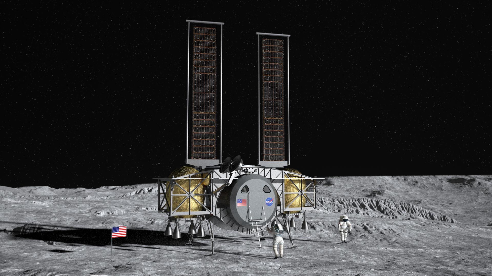 Wizja artystyczna przedstawiająca lądownik firmy Dynetics na Księżycu (Źródło Dynetics)
