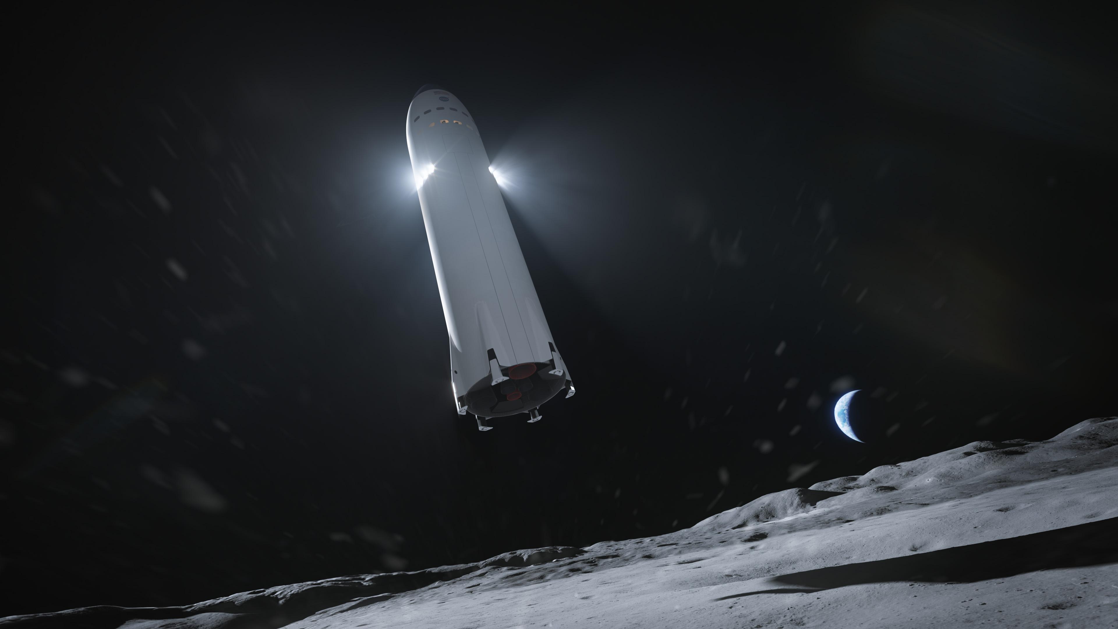 Wizja artystyczna przedstawiająca statek Starship podczas lądowania na Księżycu (Źródło: SpaceX)